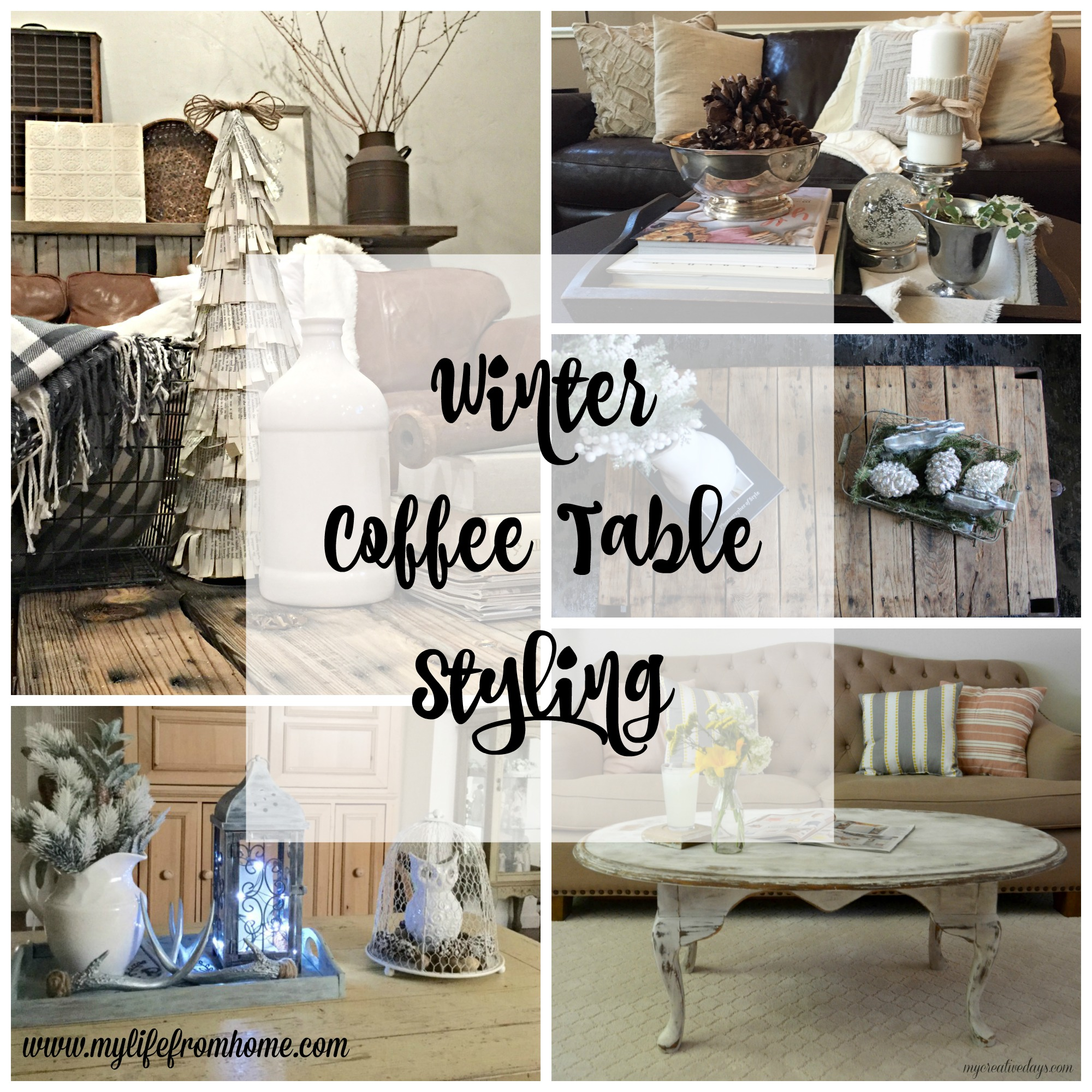 Winter Coffee Table Styling Round Up by www.mylifefromhome.com