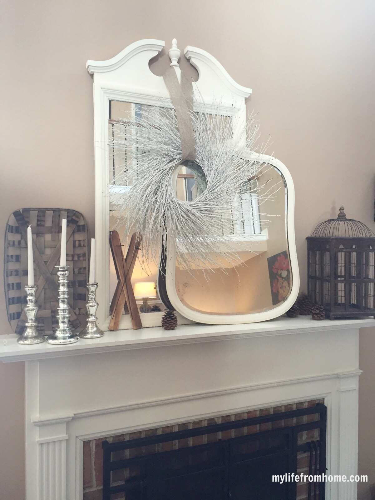 Winter mantel- decorating your mantel for winter- winter decor- decorating for winter- seasonal mantels