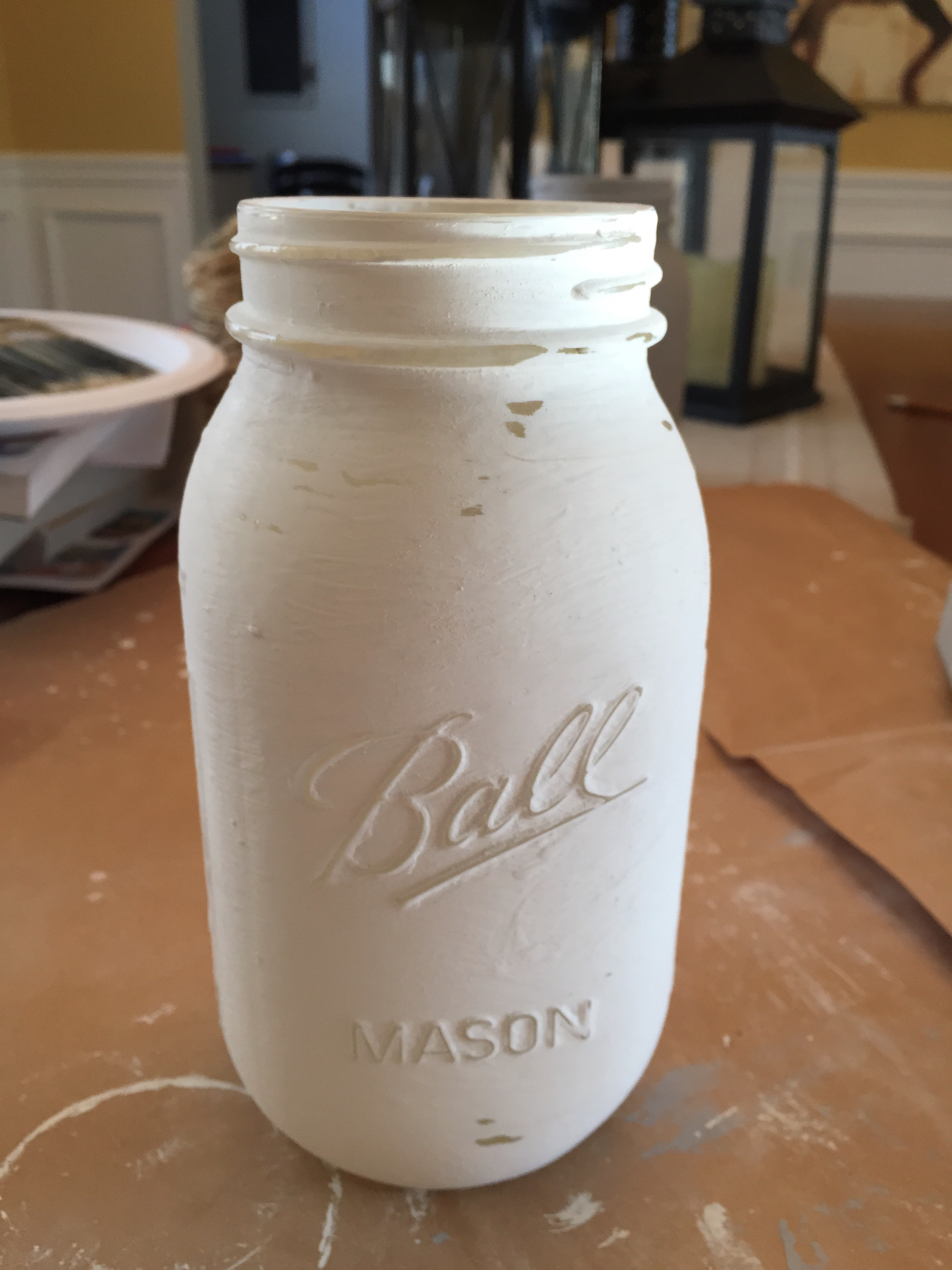 Distressed Painted Mason Jar by www.whitecottagehomeandliving.com