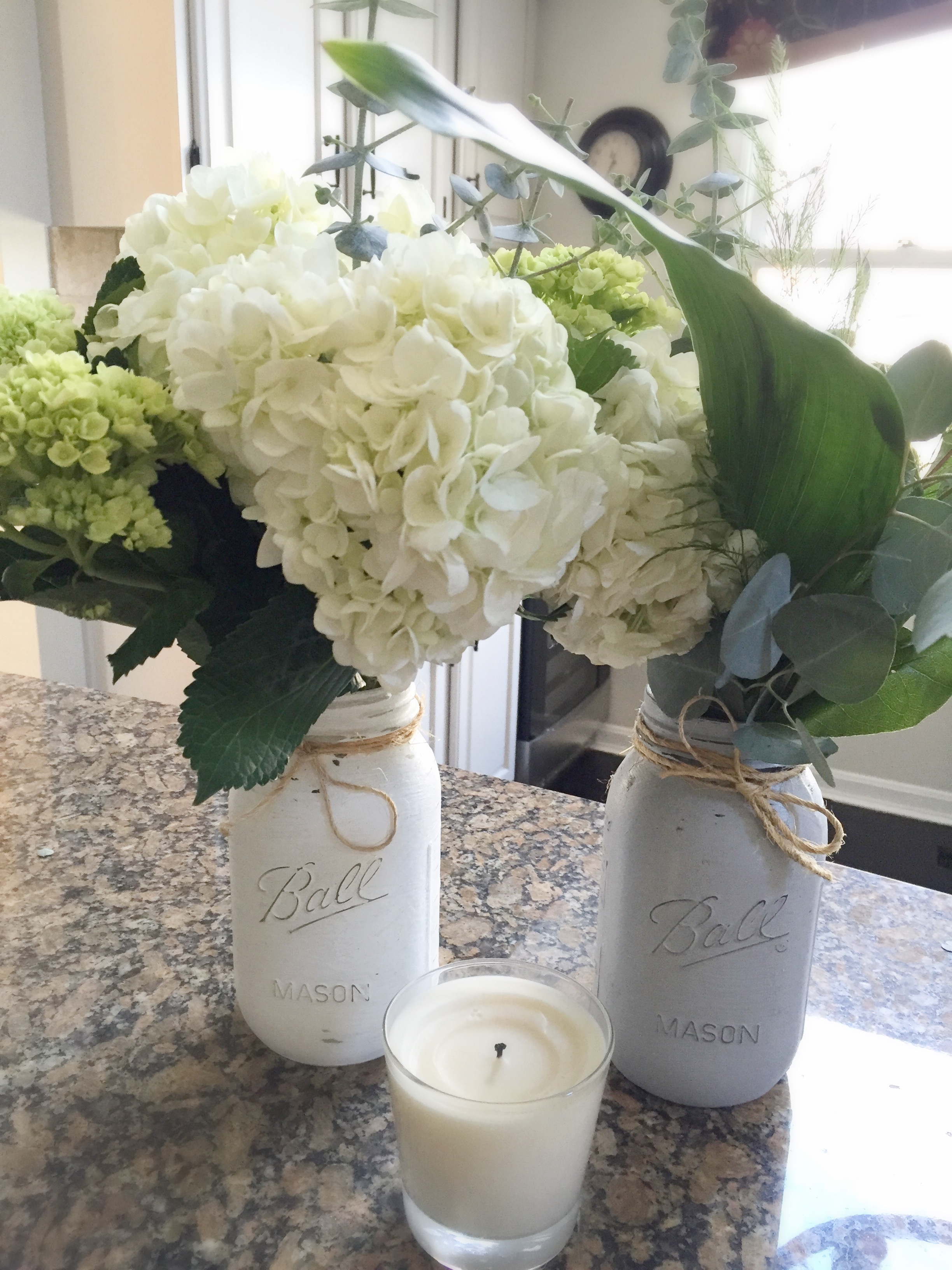Chalk Painted Mason Jars & Flowers by www.mylifefromhome.com