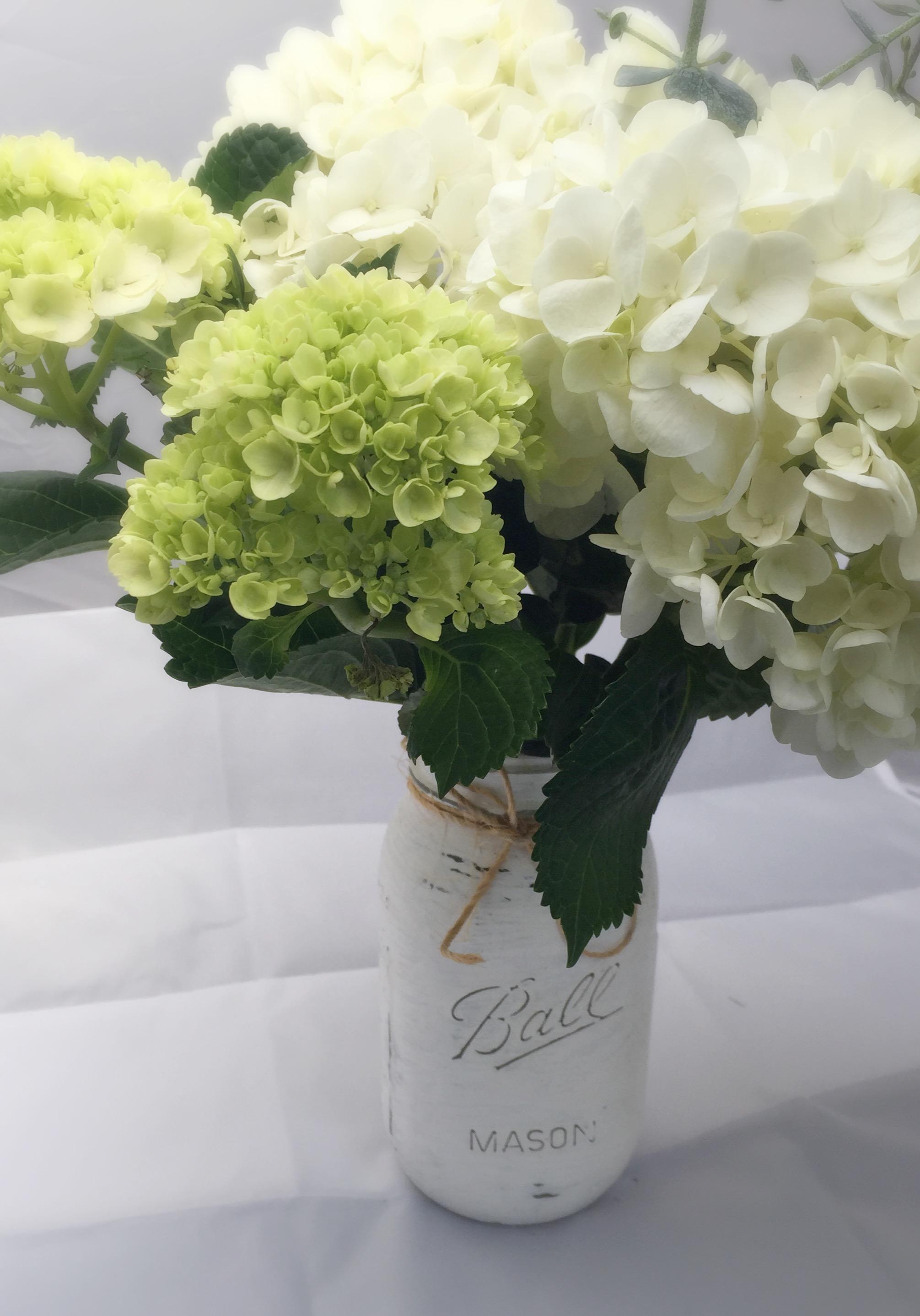 White Chalk Paint Mason Jar & Hydrangeas by www.mylifefromhome.com