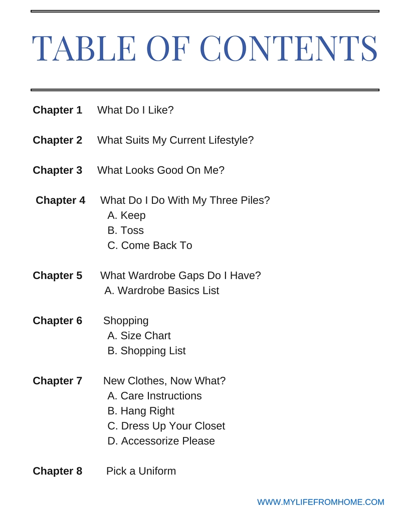 Table of Contents for e-Book Personal Style Workbook by Amy Dowling