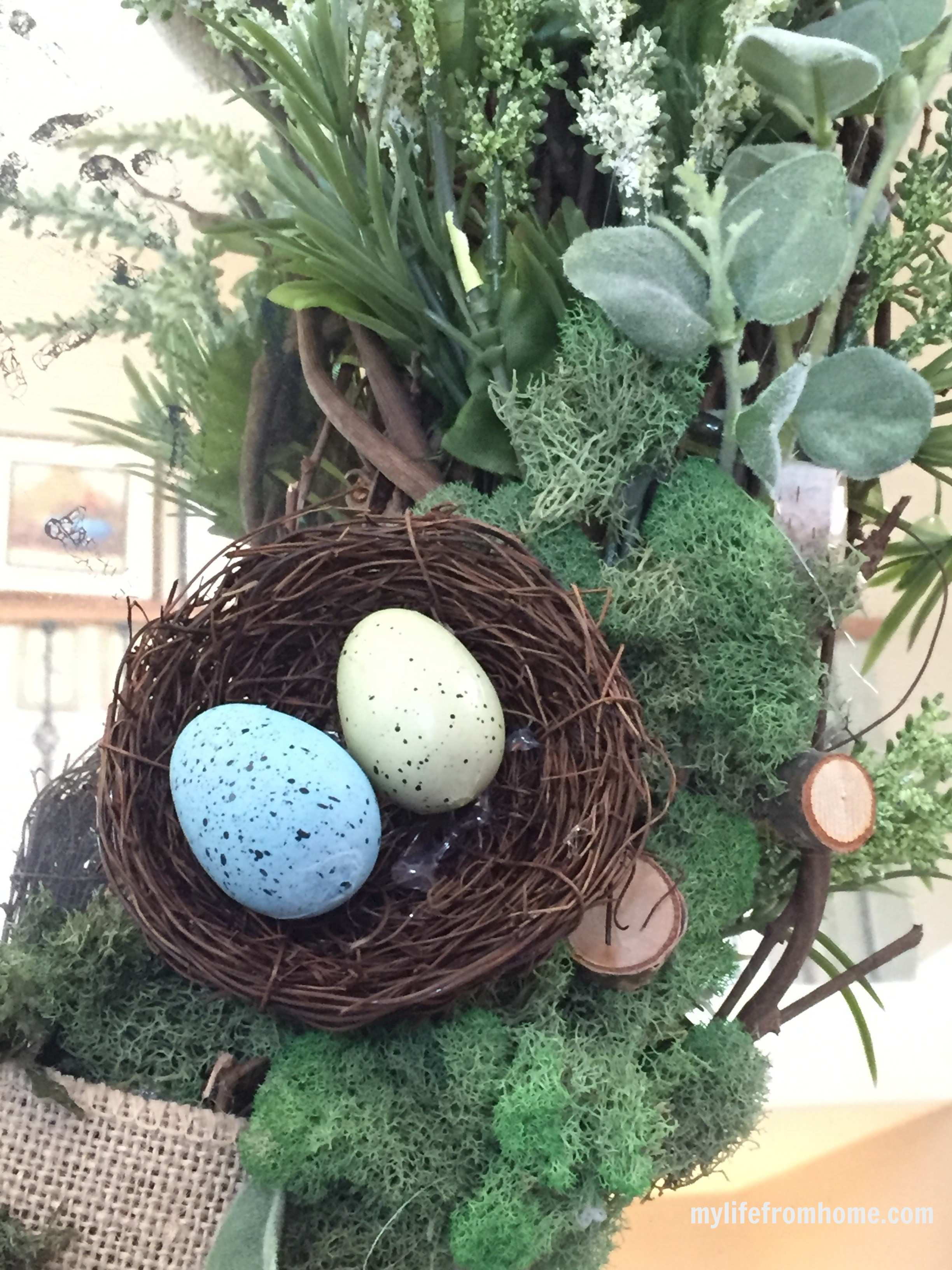 "Spring ""Birds Nest"" Wreath by www.whitecottagehomeandliving.com"