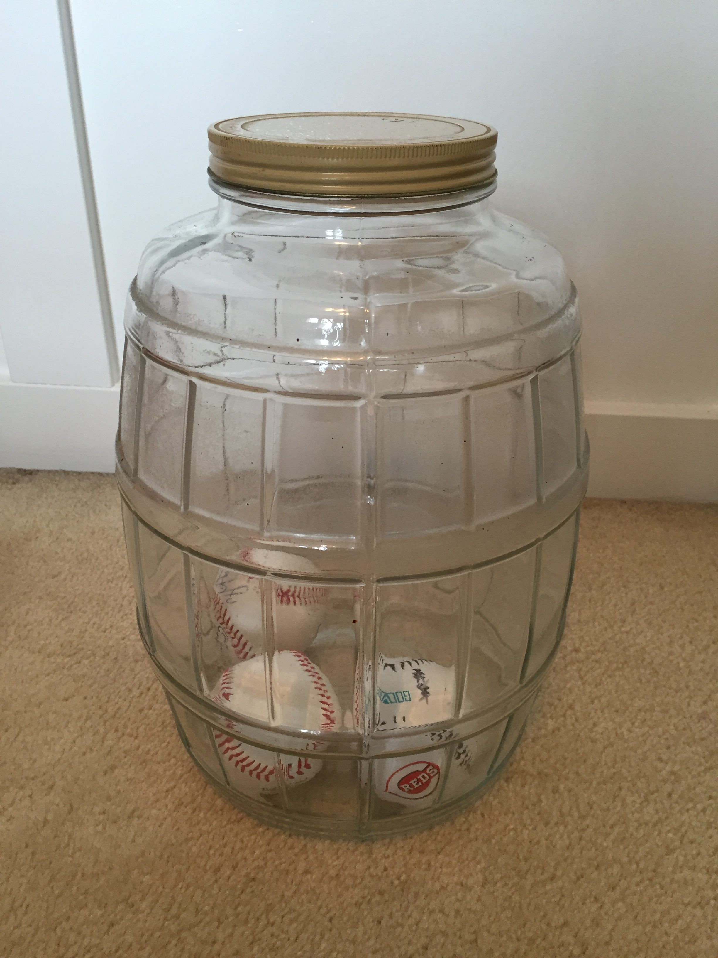 Large Antique Jar for housing Baseballs by www.whitecottagehomeandliving.com