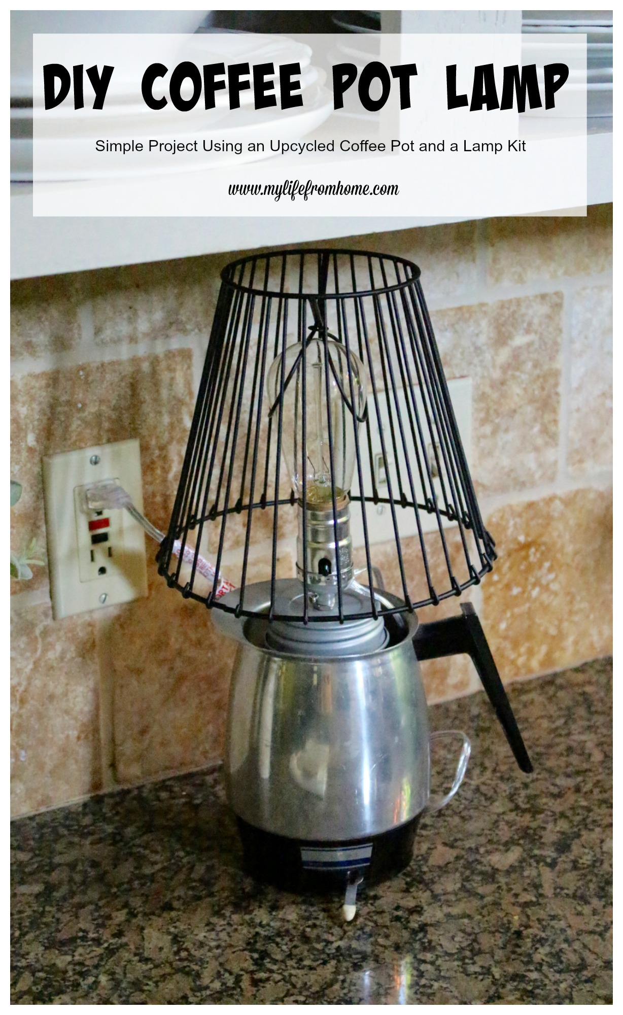 DIY Coffee Pot Lamp by www.mylifefromhome.com