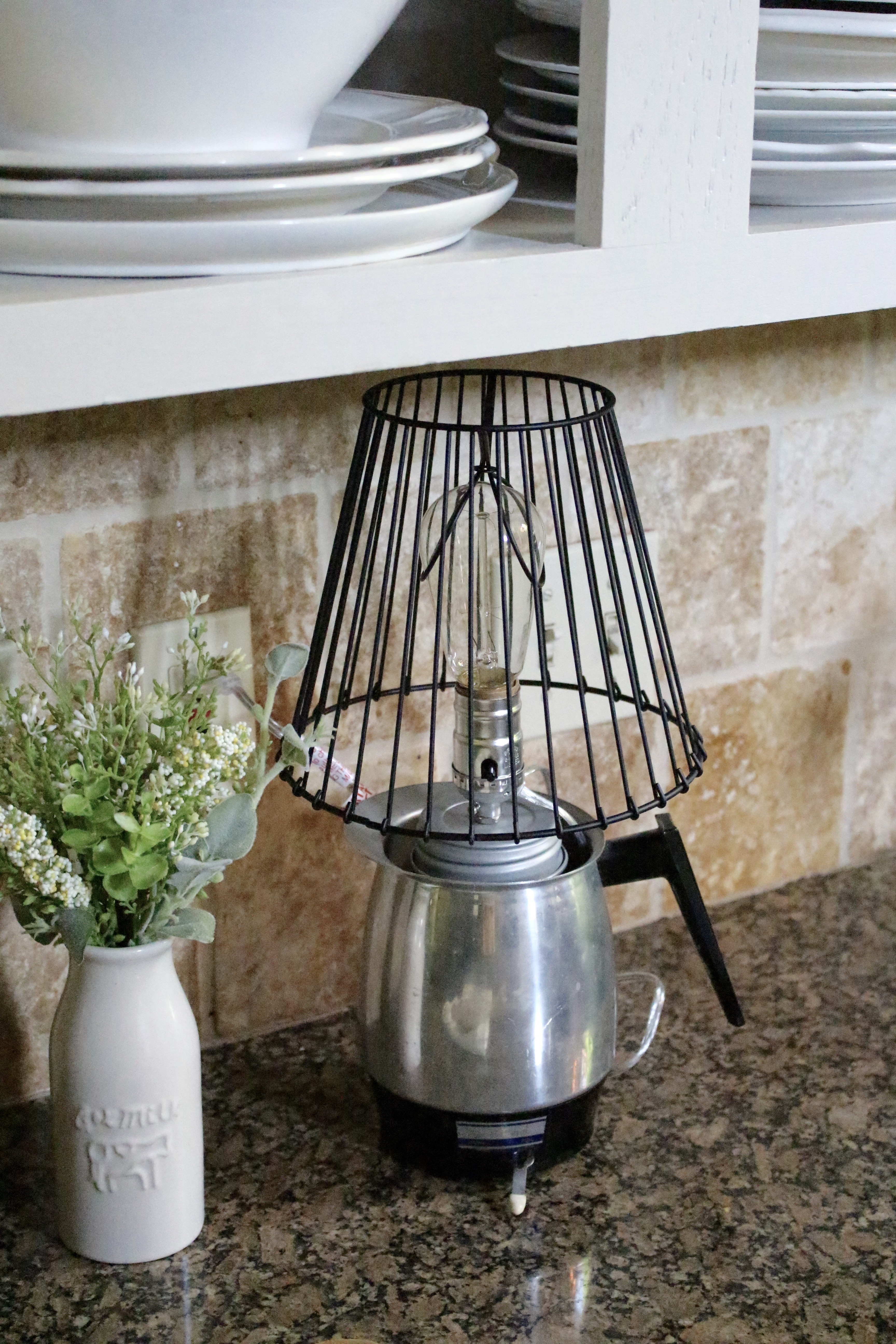 DIY Coffee Pot Lamp for the Monthly Create and Share Challenge by www.mylifefromhome.com