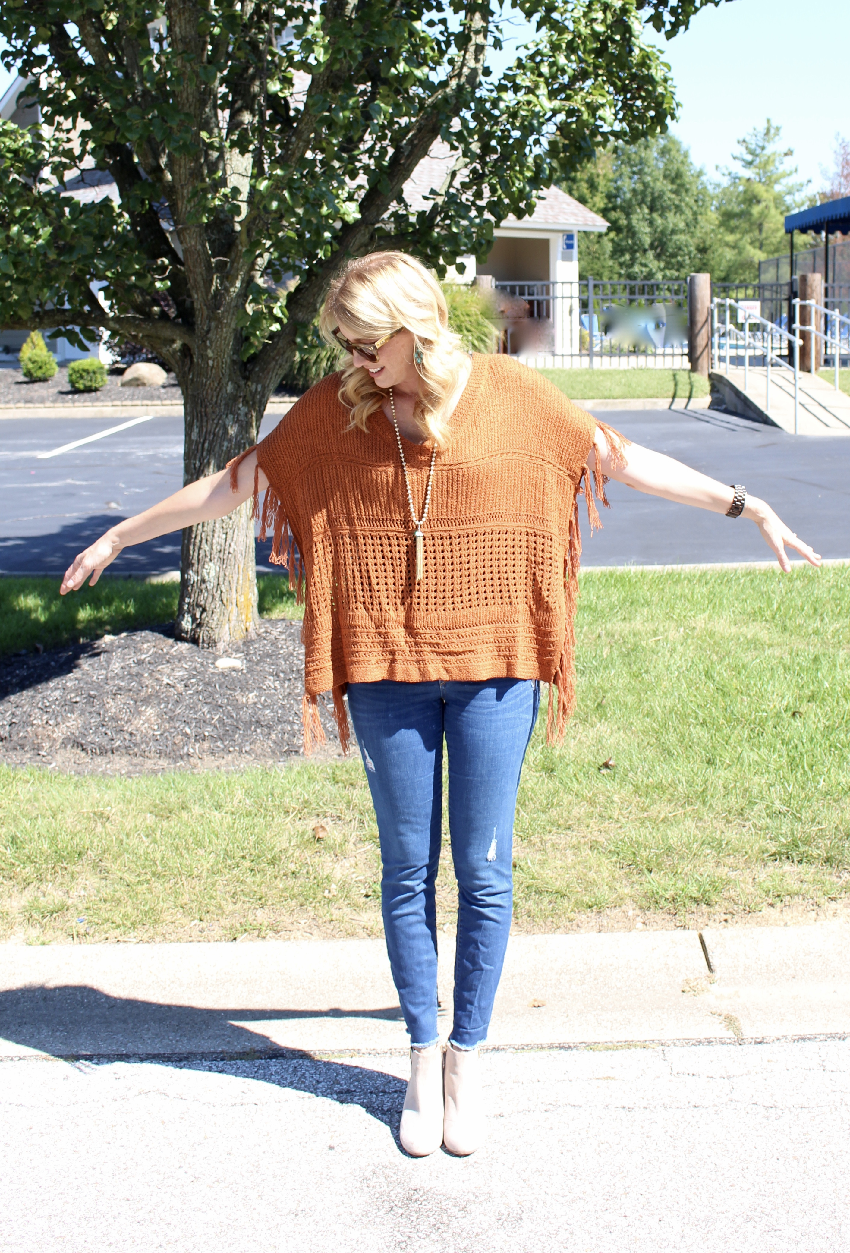 Glamour Farms Boutique- fall fashion- women's fashion- fringe poncho- casual outfits- denim- online shopping- outfits for fall