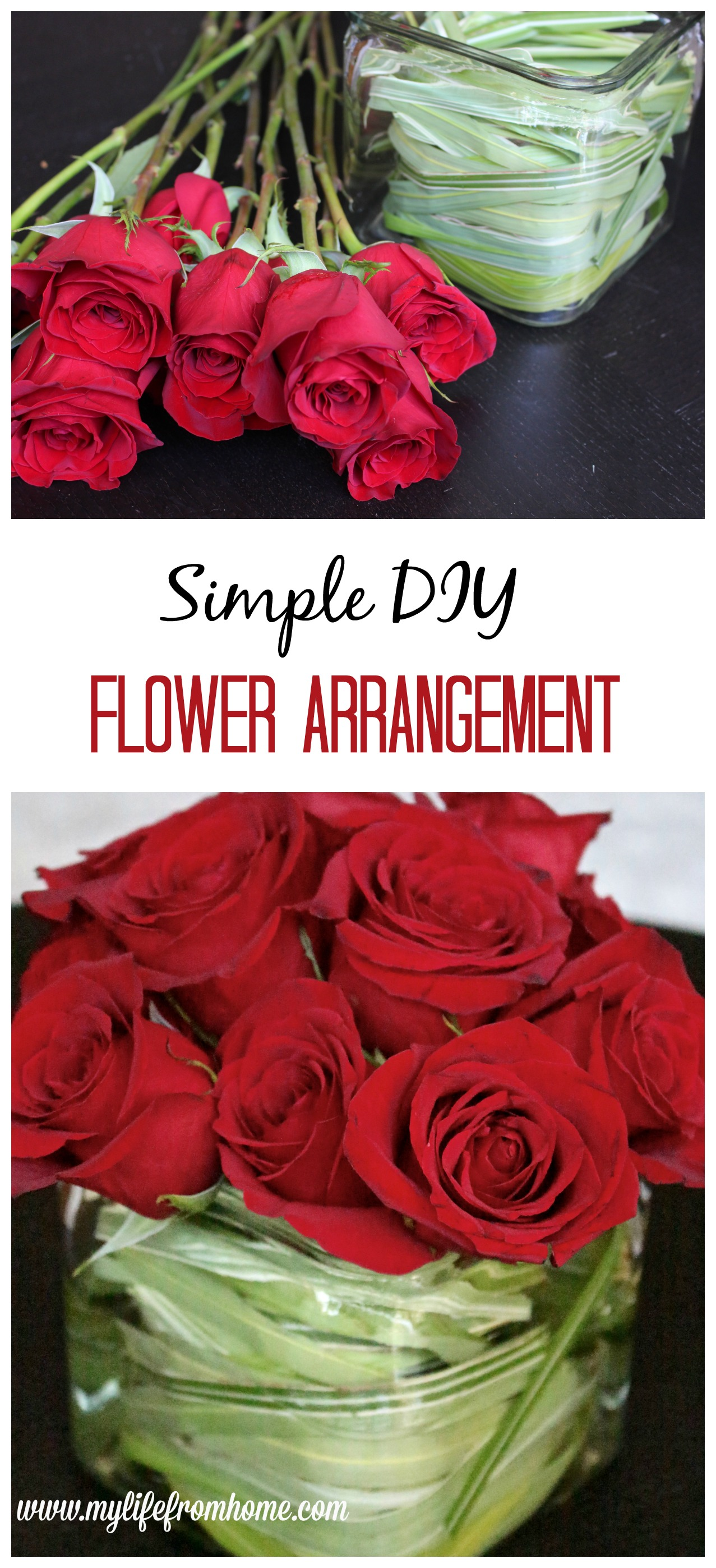 Simple DIY Flower Arrangement roses flower arranging DIY flower arrangement hand bouquet grocery store flowers