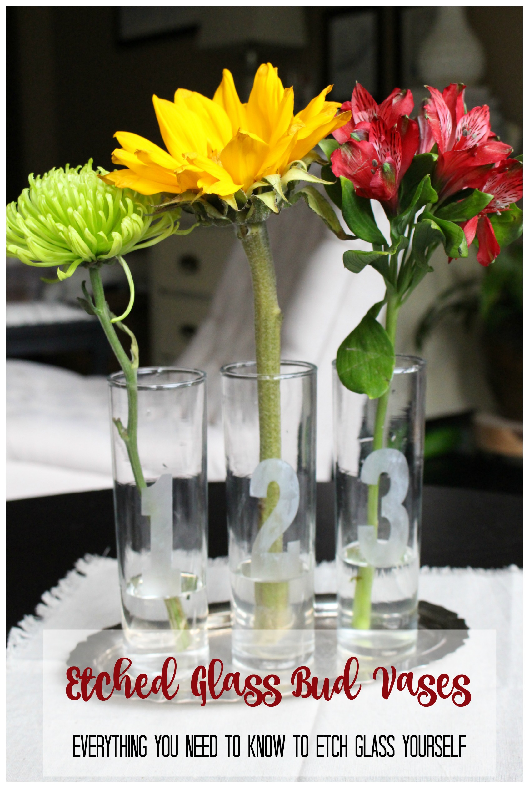 Etched Glass Bud Vases- how to etch glass- DIY- crafts- etching glass- easy etched glass projects- create with me challenge.