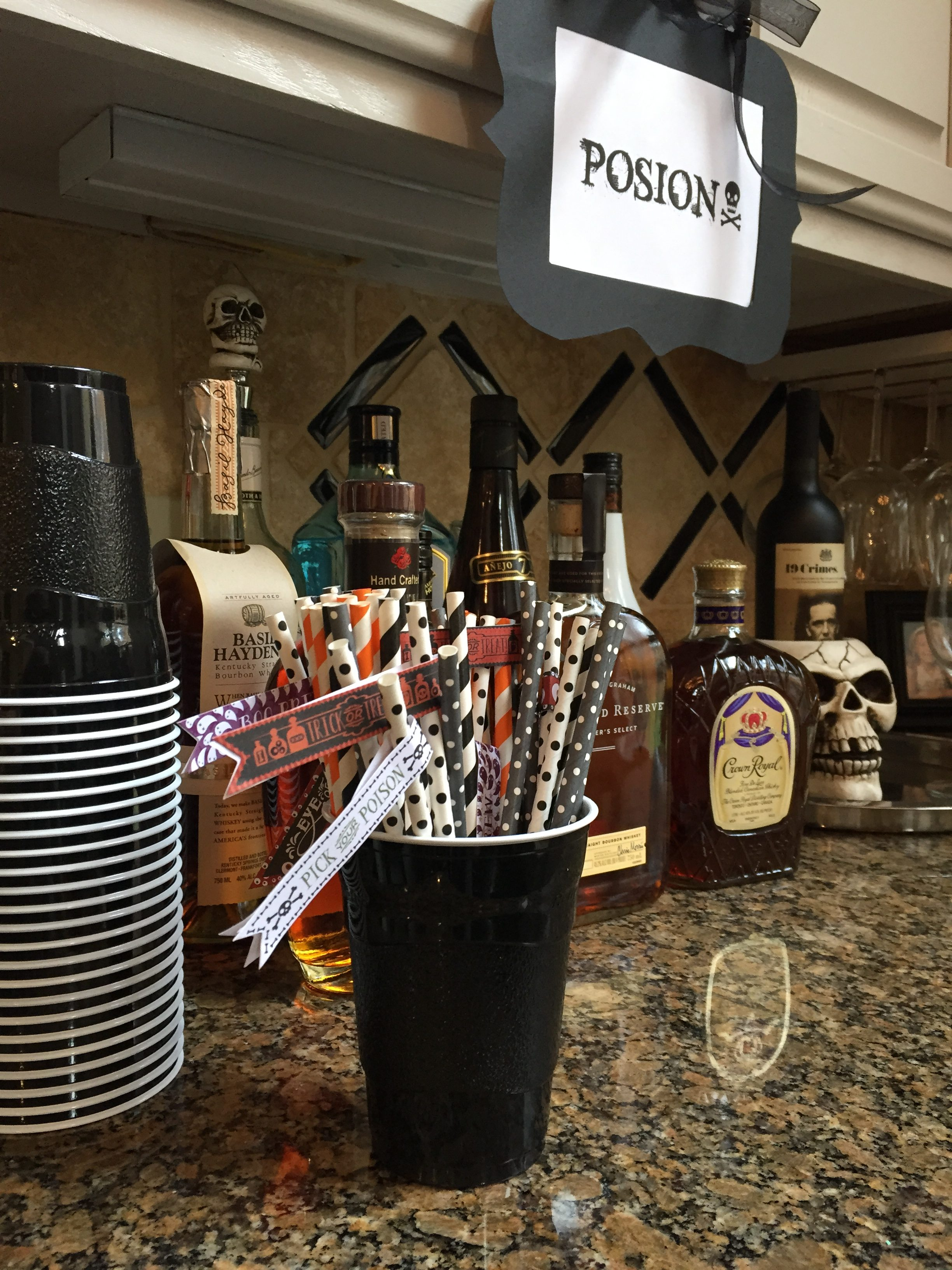 Halloween decorations for a themed party- Halloween- Holidays- decorating for a Halloween party- bar station for Halloween- ideas for hosting Halloween party