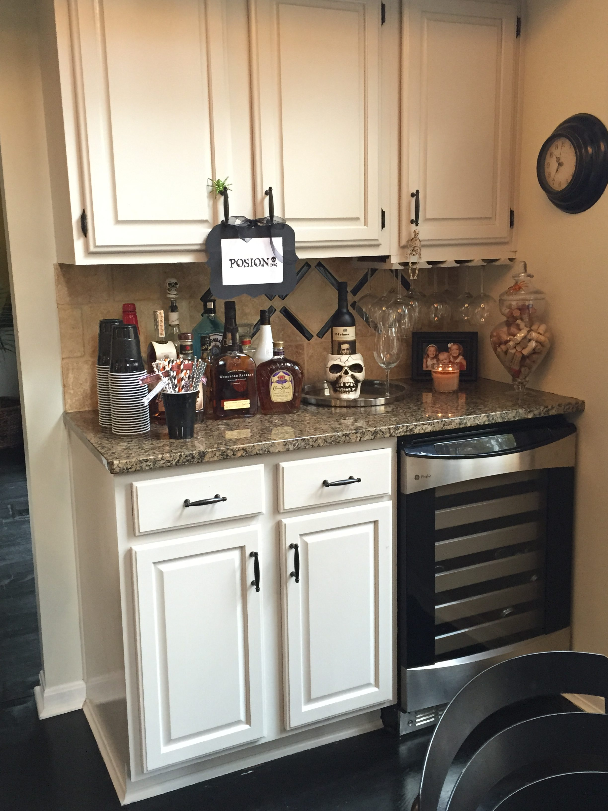 Halloween ideas- Bar Station- Holiday- Halloween- Halloween Party Ideas- Pick your Poison station- Halloween Bar