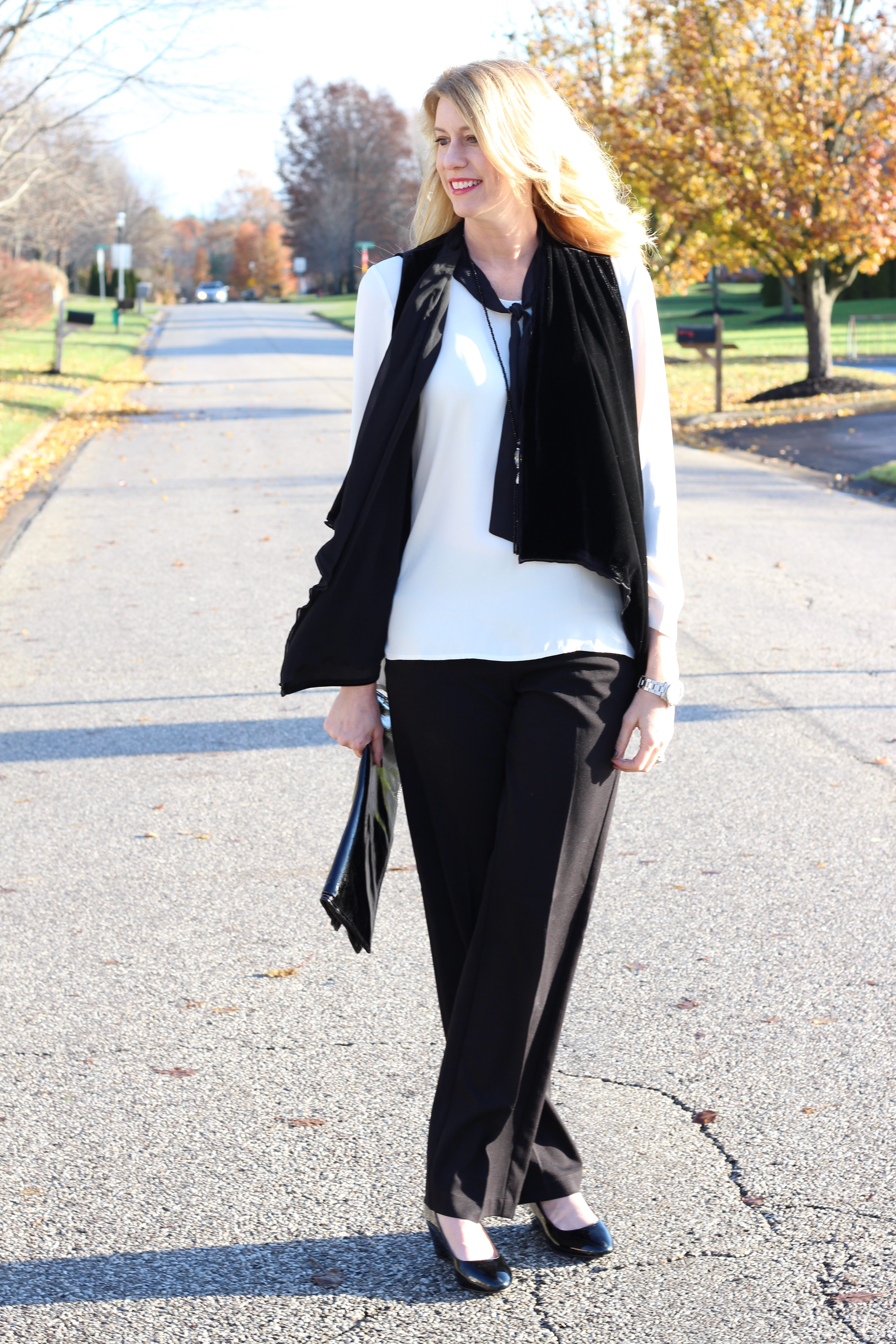 Christopher and Banks- style- women's fashion- fall and winter fashion- holiday outfits- velour vest- black and white- menswear inspired look- Christmas party attire