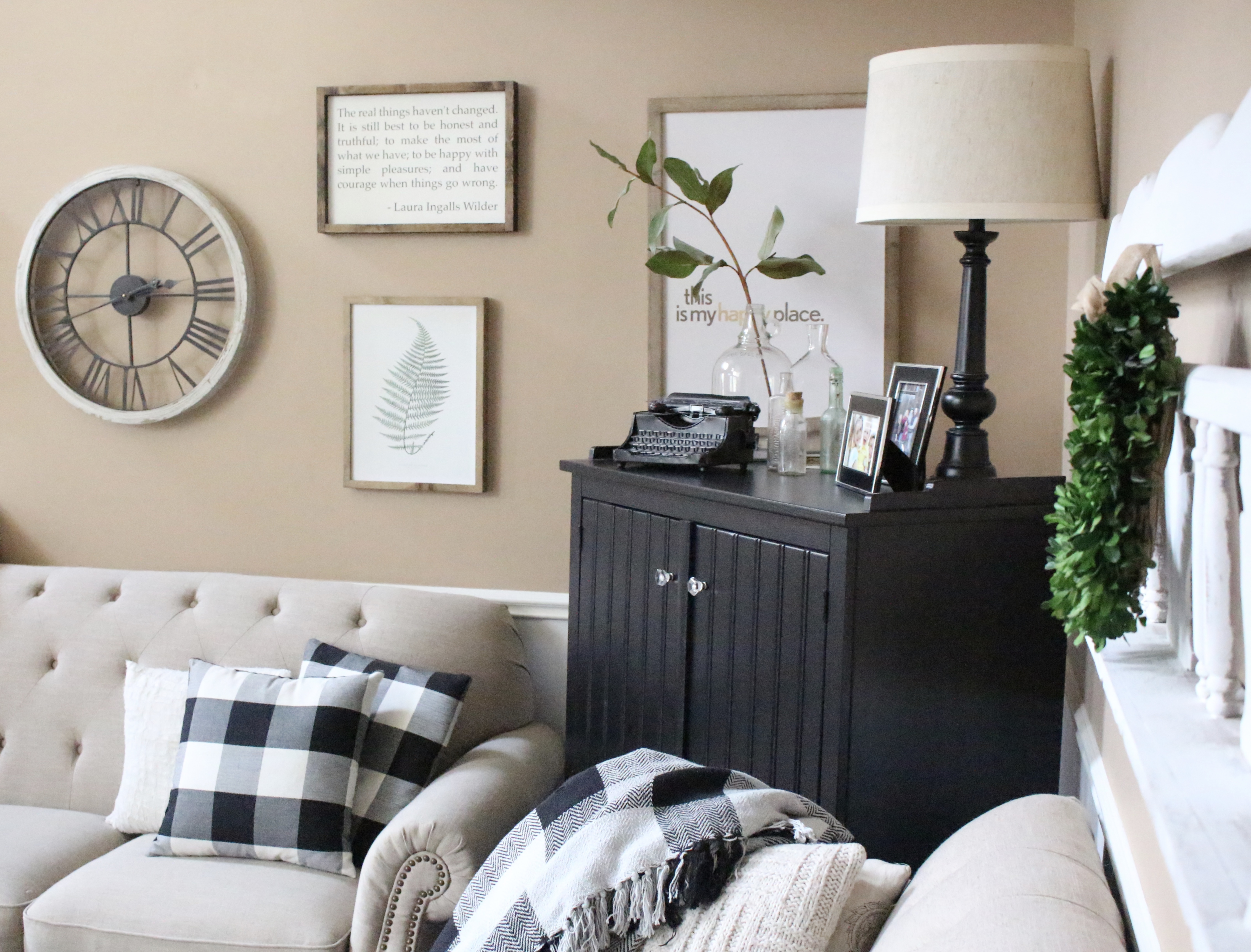 New Sideboard in the family room- Hutch- corner cabinet- farmhouse style- Arkelstorp IKEA- buffalo check- vintage typewriter- how to decorate an awkward corner- glass bottles