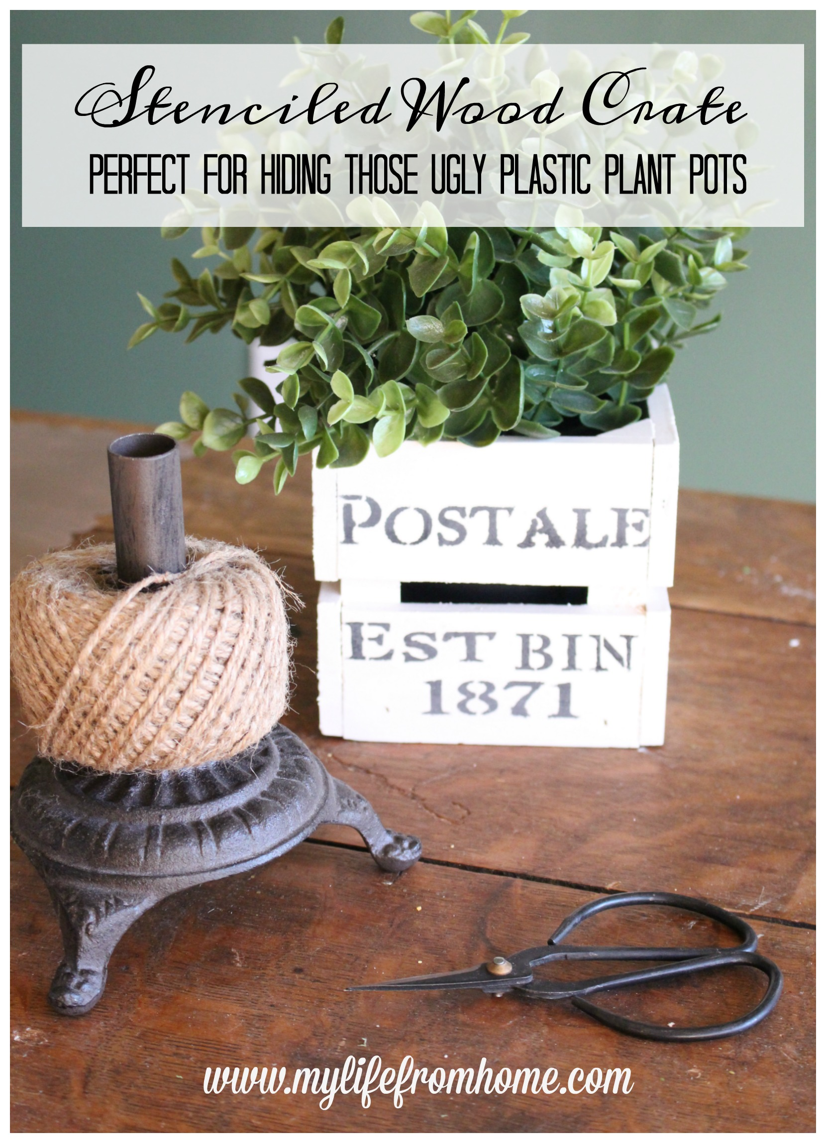 Stenciled Wood Crate- small crate- stencil on wood- vintage stencil- hiding ugly plastic plant pots- faux plant holder- plant pot