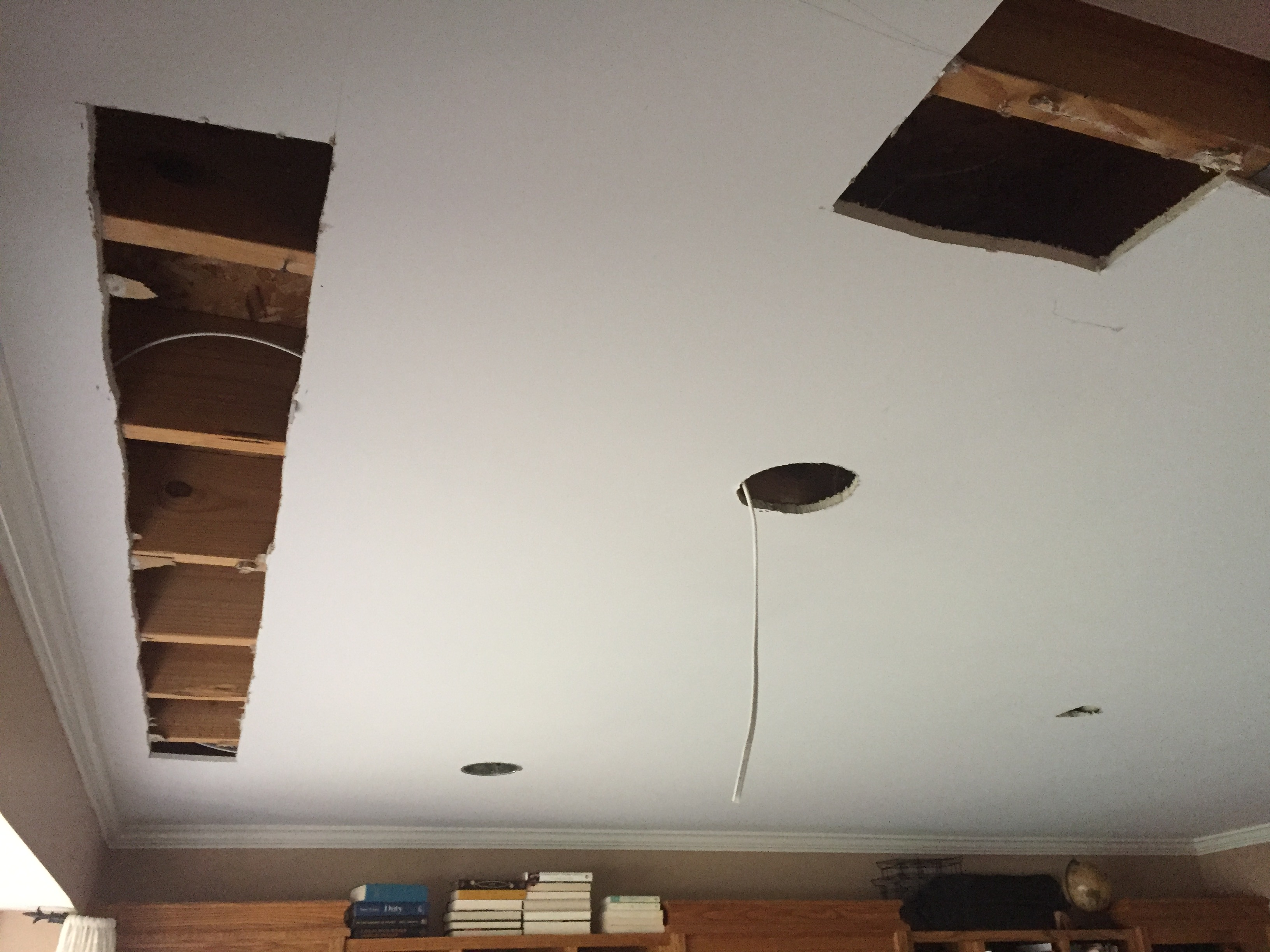 Overhead lighting being installed in my home office- ceiling lighting- overhead lighting- can lighting- home office- One Room Challenge