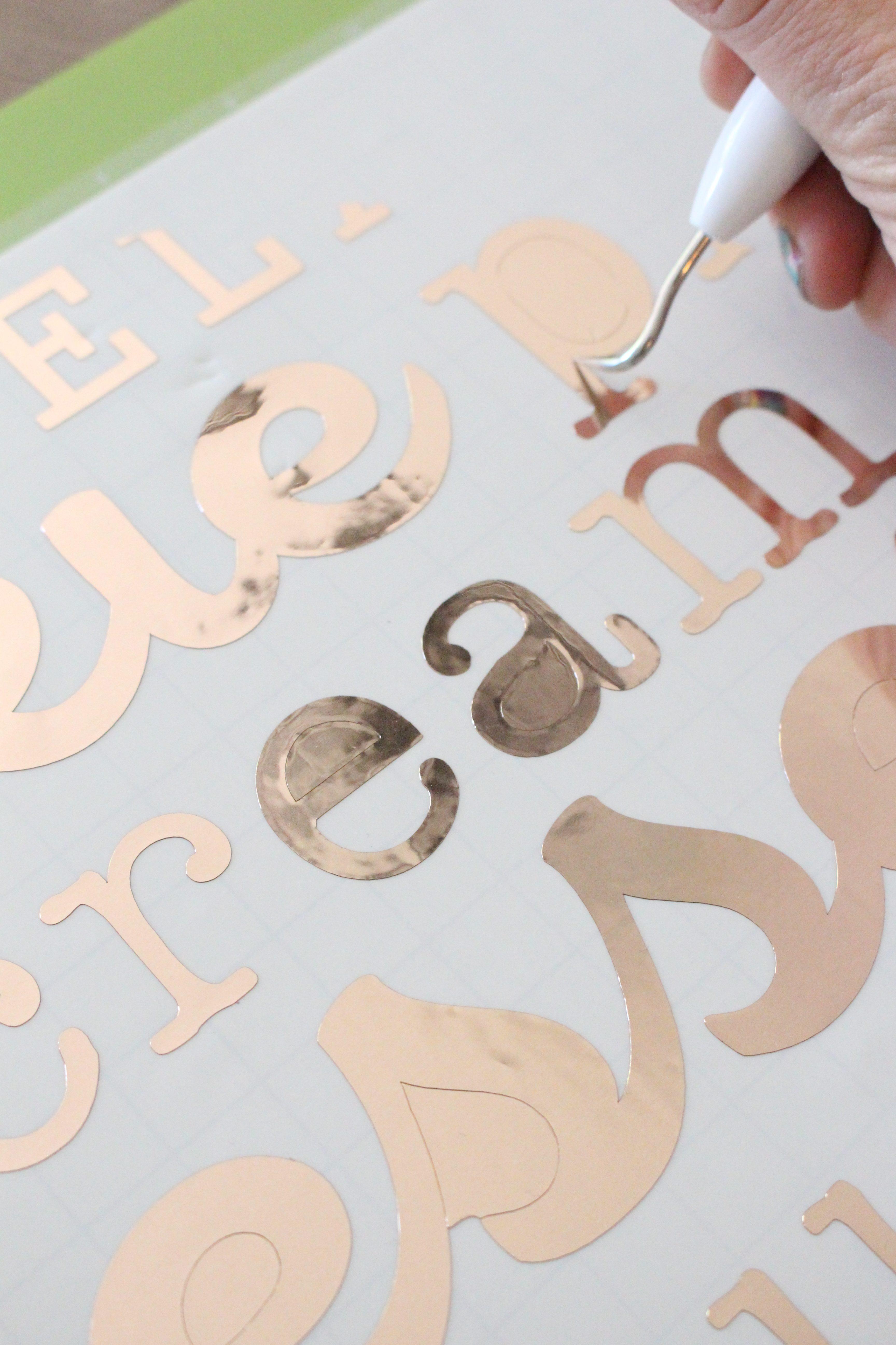 Cricut Explore Air 2- cutting machine- DIY- crafting machine- Cricut- using a writing and cutting machine for crafts- vinyl crafts- cutting vinyl- using the Cricut for vinyl projects- copper vinyl- cake stand decor