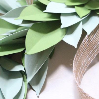 Farmhouse Paper Swag- Cricut Explore Air- paper crafts- DIY- die cut- paper leaves- swag- garland- leaves- farmhouse style- farmhouse- blanket- rustic ladder