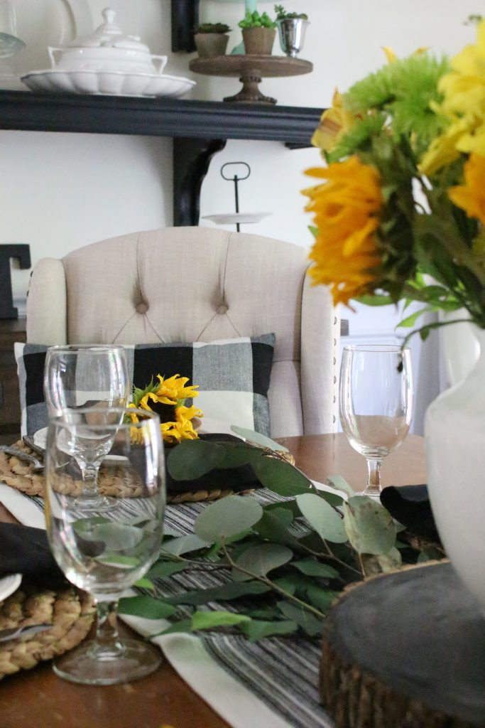 Summer- Dining Room- Tablescape- Table Setting- sunflowers- Do it Yourself- DIY- DIY projects- decorating ideas- room design- rustic home decor- decoration days- room decor ideas- Back to Basics series