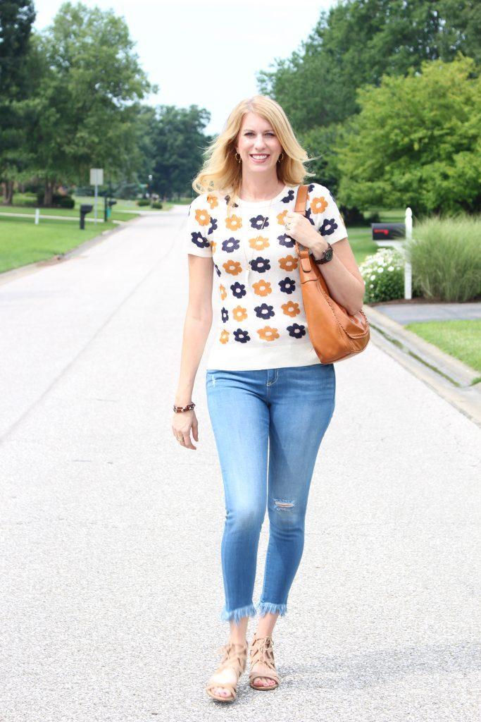 Summer Fashion- sweater- flowers- outfits- style- women's- wear- denim- ModCloth- sandals- denim- distressed denim- fringe denim- casual- outfits