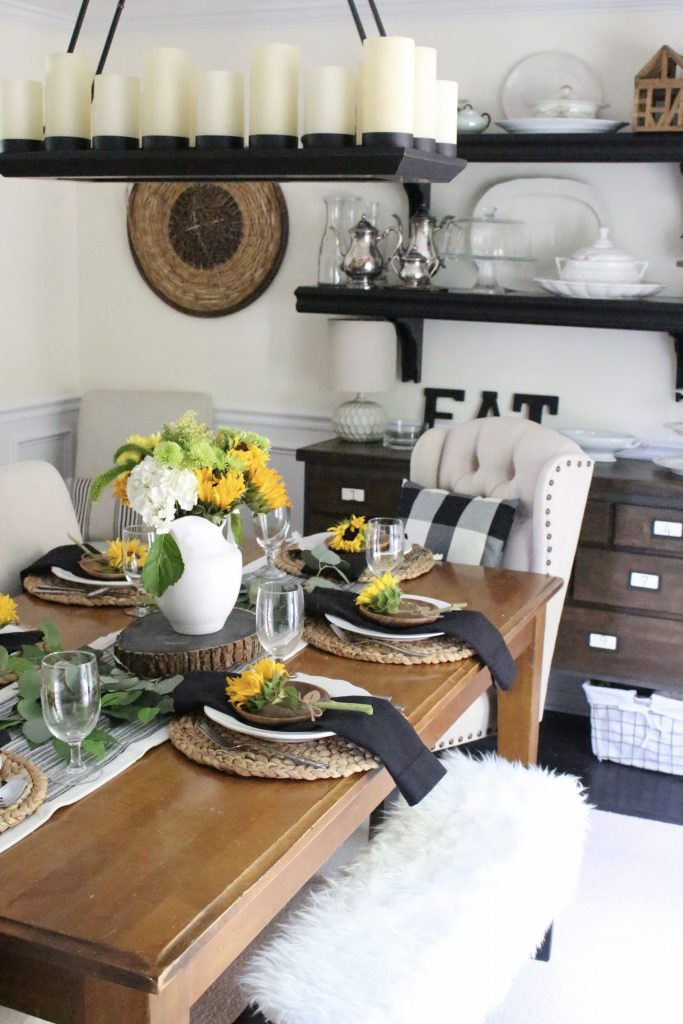 Tablescape tips tricks my life from home summer dining room tablescape table setting sunflowers do it yourself solutioingenieria Gallery