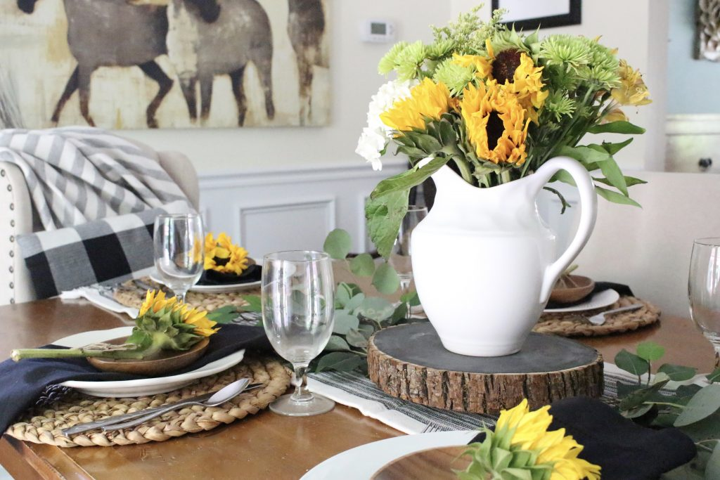 Tablescape tips tricks my life from home summer dining room tablescape table setting sunflowers do it yourself solutioingenieria Images