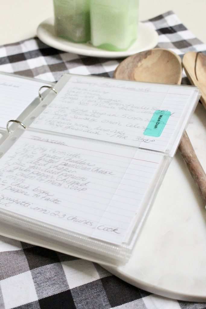 Tips on Organizing a Recipe Plan book- recipes- plan- book- organizing- menu planning- meal- planning- putting together a recipe book- binder- back to basics- 3 ring binder- recipe cards- dividers