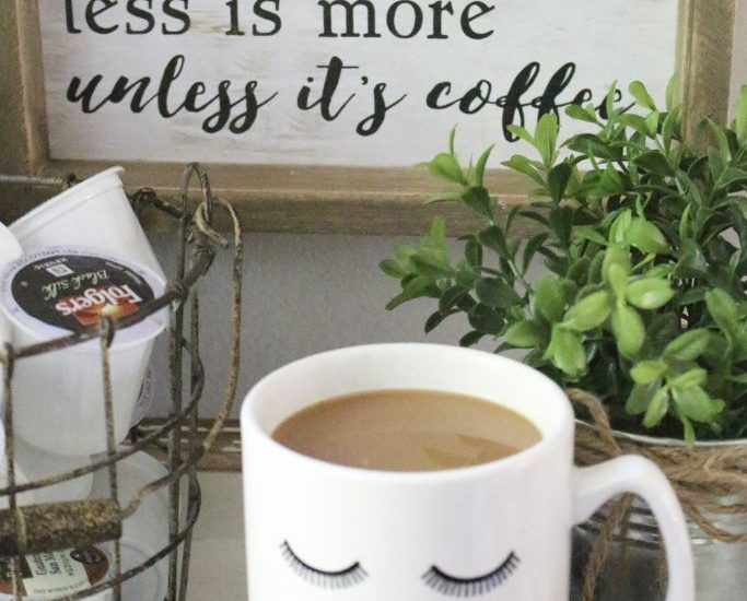 How to Set Up a Kitchen Coffee Station- kitchen- coffee- station- coffee bar- DIY- DIY projects- Do it Yourself- room design- Home Decor- Decoration Ideas- Room Decor Ideas- mug rack- rustic home decor- coffee sign