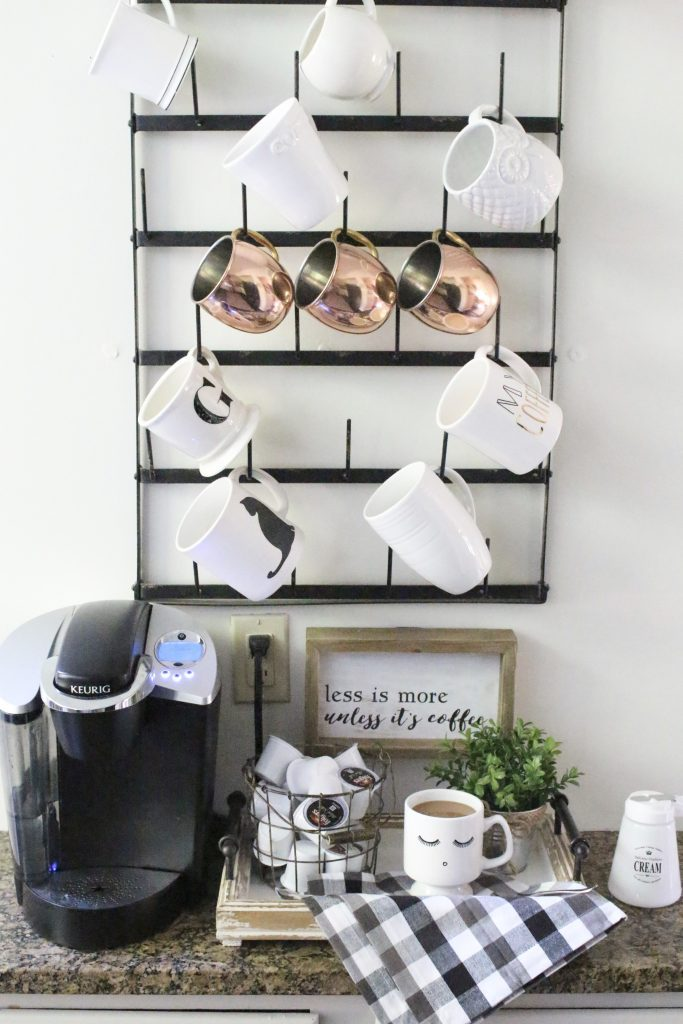 How to Set Up a Kitchen Coffee Station- kitchen- coffee- station- coffee bar- DIY- DIY projects- Do it Yourself- room design- Home Decor- Decoration Ideas- Room Decor Ideas- mug rack- rustic home decor- coffee sign- coffee mugs