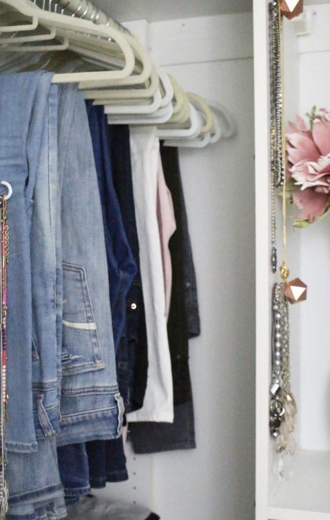 A full boutique closet reveal- master closet- closets- organizing closets- do it yourself- DIY- DIY projects- decoration ideas- room decor ideas- room design- home decor- closet decor- boutique- closet organization- shelf organization- walk in closet- denim