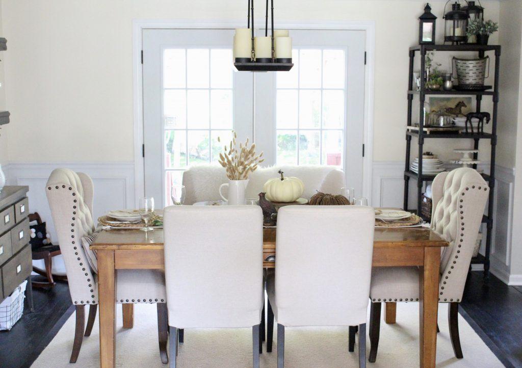Simple Neutral Fall Tablescape- How to Create a Neutral Fall Table- table decor- table setting- tablescape- home design- fall- seasonal decor- Do it Yourself- DIY- DIY projects- rustic home decor- decoration ideas- room decor ideas