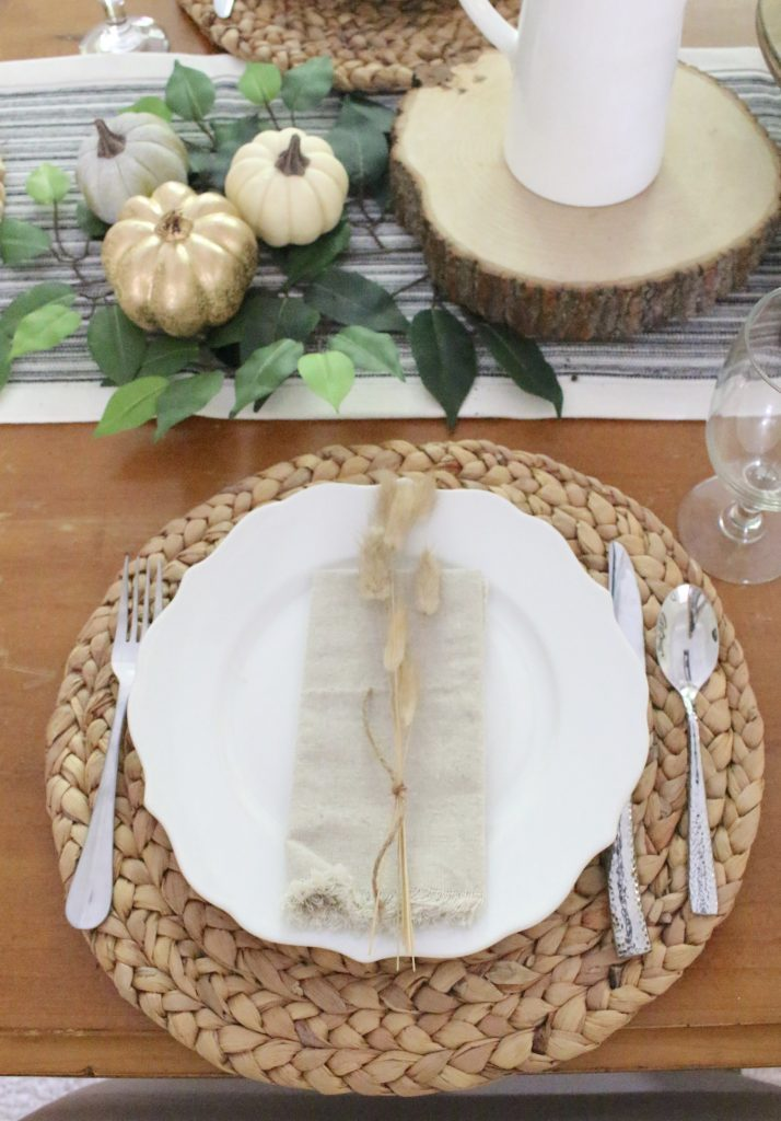 Simple Neutral Fall Tablescape- How to Create a Neutral Fall Table- table decor- table setting- tablescape- home design- fall- seasonal decor- Do it Yourself- DIY- DIY projects- rustic home decor- decoration ideas- room decor ideas- woven chargers