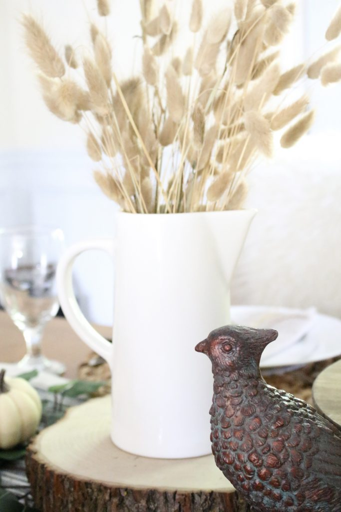 Simple Neutral Fall Tablescape- How to Create a Neutral Fall Table- table decor- table setting- tablescape- home design- fall- seasonal decor- Do it Yourself- DIY- DIY projects- rustic home decor- decoration ideas- room decor ideas- farmhouse decor