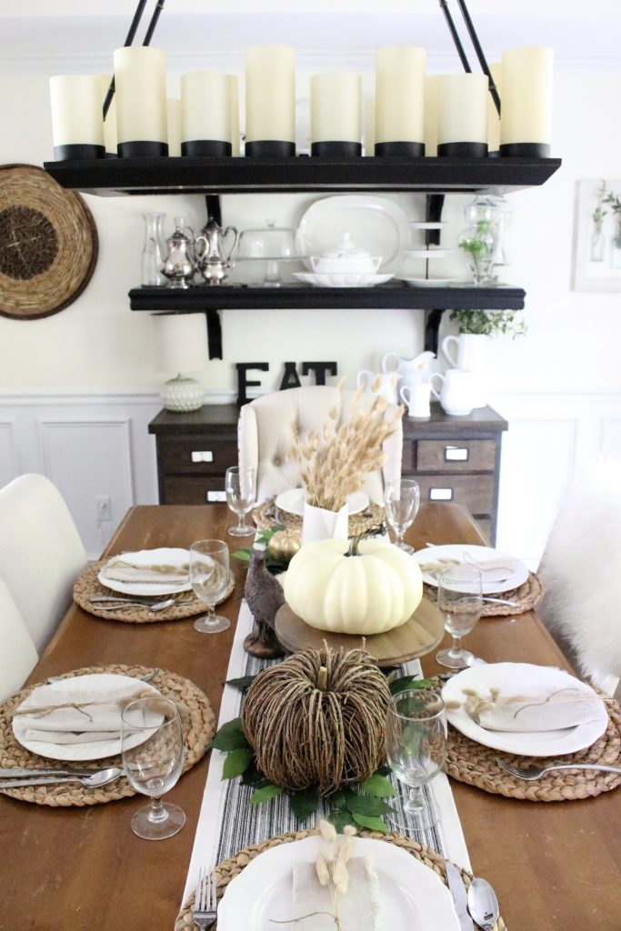 Simple Neutral Fall Tablescape- How to Create a Neutral Fall Table- table decor- table setting- tablescape- home design- fall- seasonal decor- Do it Yourself- DIY- DIY projects- rustic home decor- decoration ideas- room decor ideas- farmhouse decor- rustic table setting- dining room