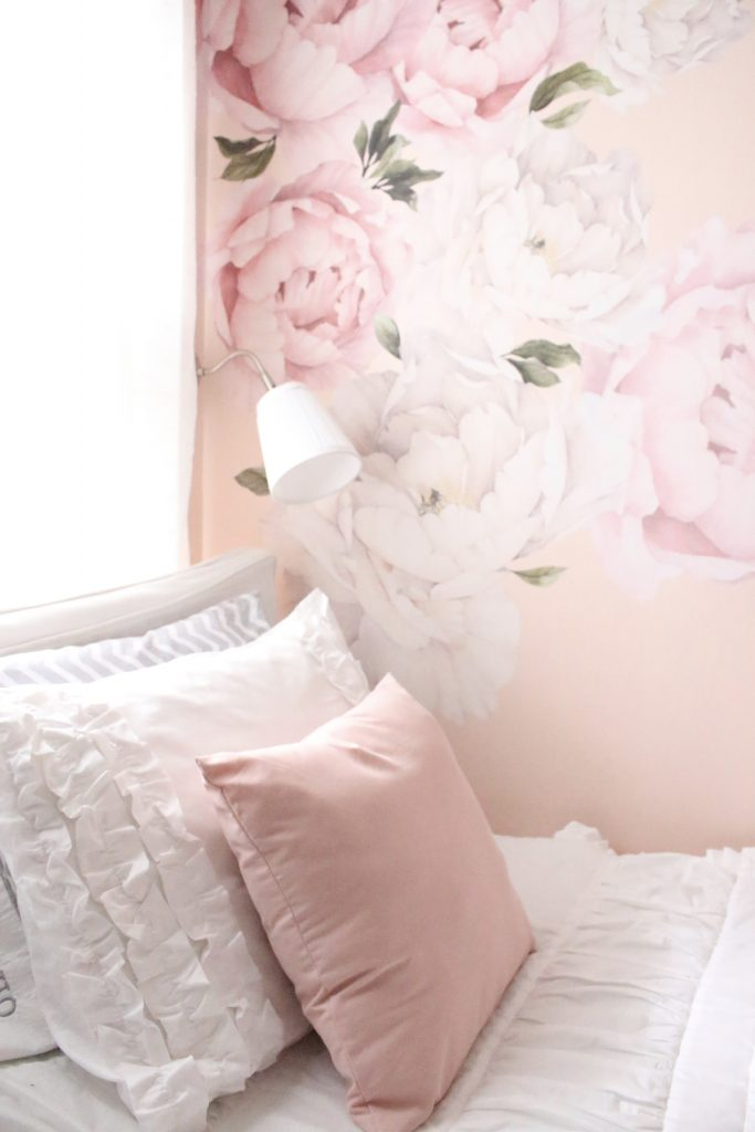 Sweet & Feminine Tween Girl bedroom space- kids bedrooms- girl bedrooms- flower wall decals- white ruffled bedding- pink room- home design- home decor- wall decor ideas- bedroom decor ideas- white bedding- peony wall paper- flower wallpaper decals- blush walls- Beddy's bedding- zip up bedding- pink and gray- removable wall decals
