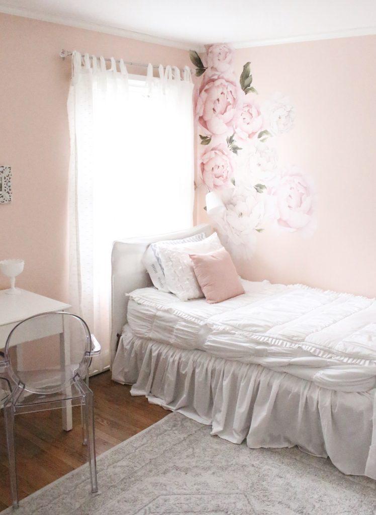 Sweet & Feminine Tween Girl bedroom space- kids bedrooms- girl bedrooms- flower wall decals- white ruffled bedding- pink room- home design- home decor- wall decor ideas- bedroom decor ideas- white bedding