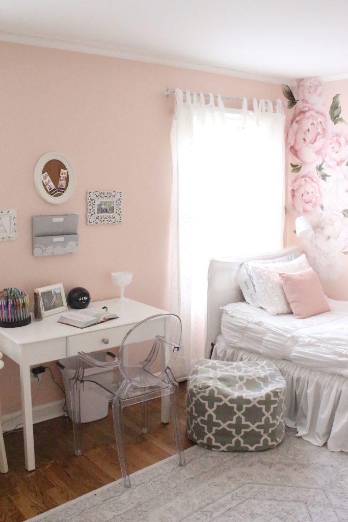 Sweet & Feminine Tween Girl bedroom space- kids bedrooms- girl bedrooms- flower wall decals- white ruffled bedding- pink room- home design- home decor- wall decor ideas- bedroom decor ideas- white bedding- peony wall paper- flower wallpaper decals- blush walls- Beddy's bedding- zip up bedding- pink and gray- removable wall decals- teen bedroom