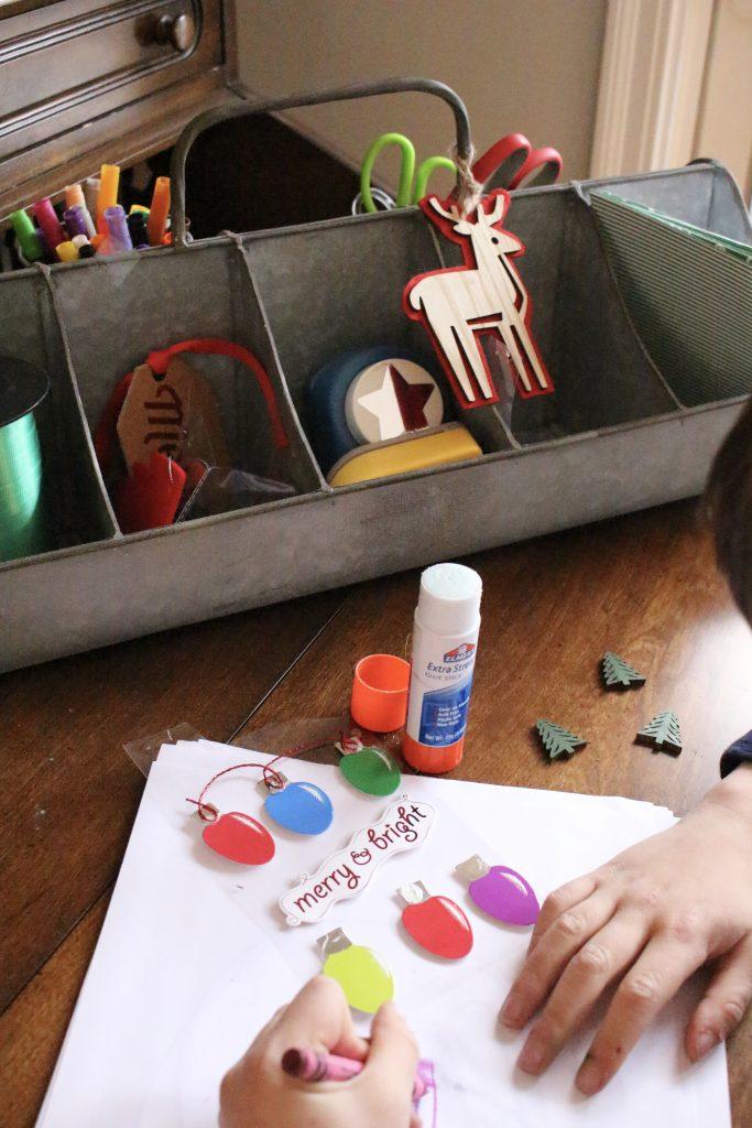Christmas Craft Station - kids crafts- creating a craft station- Christmas crafts- holiday ideas for kids- Shipt- Meijer- online grocery shopping- crafts- DIY- artwork