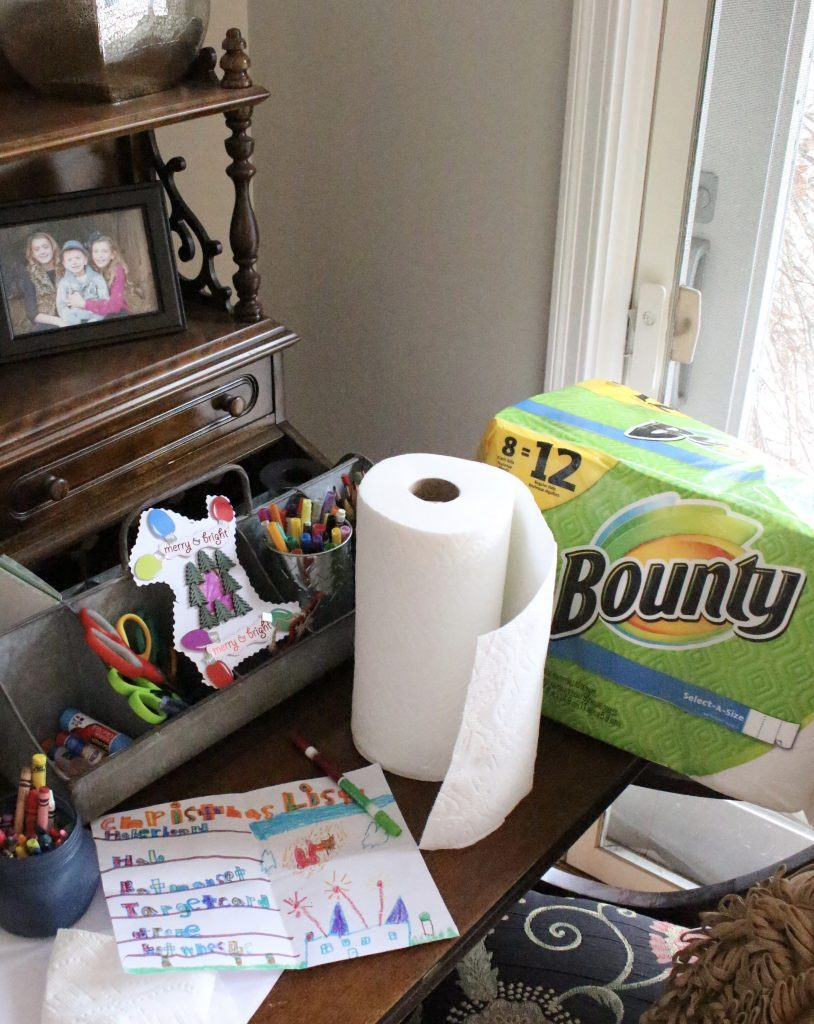 P&G Products ordered through Shipt and delivered straight to your home- Christmas Craft Station - kids crafts- creating a craft station- Christmas crafts- holiday ideas for kids- Shipt- Meijer- online grocery shopping- crafts- DIY- artwork- paper towels for easy clean up