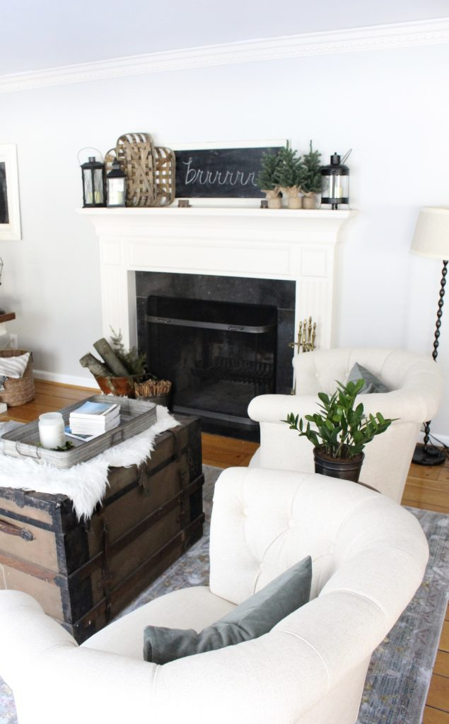 Cozy Peaceful Winter Mantel- mantel decor- room design- rustic home decor- wall decorating ideas- mantle- decoration ideas- living room decorating ideas- DIY- DIY projects- home decor- winter decor- winter decorating- winter mantel- vintage decor