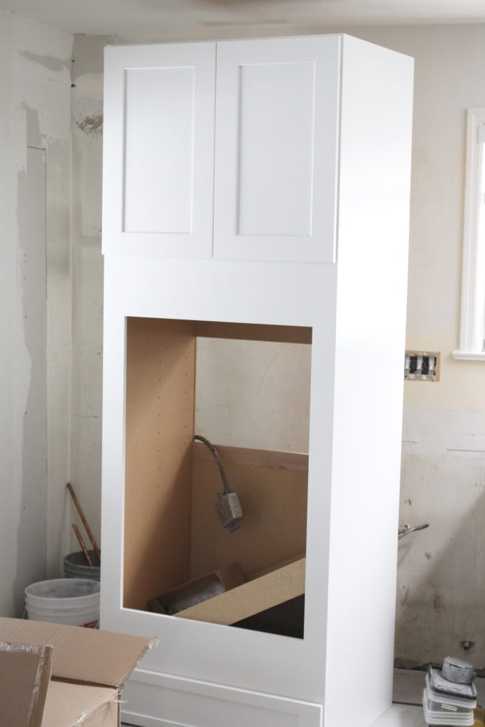Warm and Inviting White Cottage Kitchen Renovation Update- Halfway mark of the kitchen reno- white and gray kitchen cabinets- home design- farmhouse sink- hutch- Woodmark- Home Depot cabinets- DIY- DIY projects- renovations- home design ideas- fresh kitchen ideas