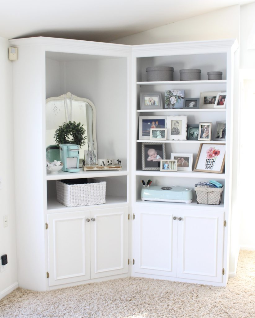 White Cottage Style Bedroom with bookcases- shabby chic style- cottage style- coffee station- bedroom design- how to style a coffee station- bookcase- DIY- DIY projects- Keurig- mint green coffee maker- white bedroom decor- room design- styling a bookcase