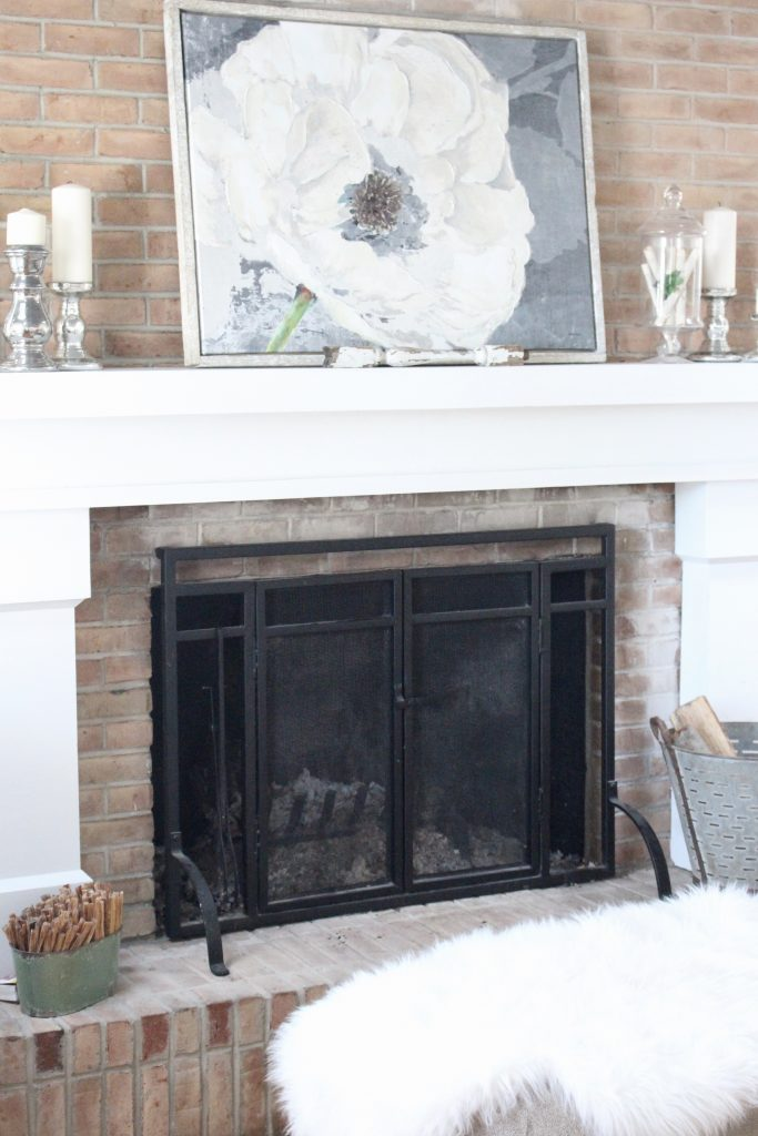 Gray and White Cottage Living Space- farmhouse style room- decor- DIY- weathered wood ceiling treatment- painted ceiling- paint and stain treatment on pine- how to- paint- stain- wood- ceiling- winter decor- room design- home decor- living room decorating ideas- rustic home decor- wall decorating ideas- decoration ideas- room decor ideas- mantel ideas- french county style decor-tv room- fireplace screen