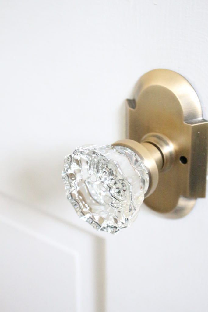 Nostalgic Warehouse Crystal Knobs with Antique Brass Cottage Plate- home design- DIY- Do it Yourself Project- changing doorknobs- farmhouse style- cottage style- doorknobs- hardware- antique brass- crystal knobs- vintage paint by number- DIY projects- decoration ideas- room decor ideas