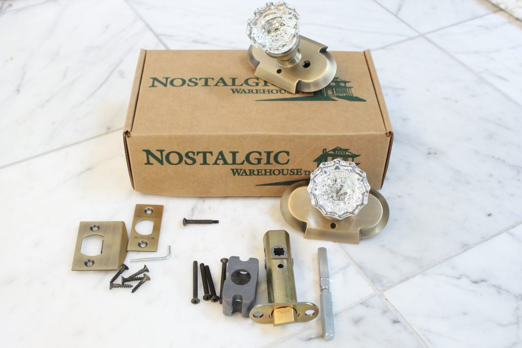Nostalgic Warehouse Crystal Knobs with Antique Brass Cottage Plate- home design- DIY- Do it Yourself Project- changing doorknobs- farmhouse style- cottage style- doorknobs- hardware- antique brass