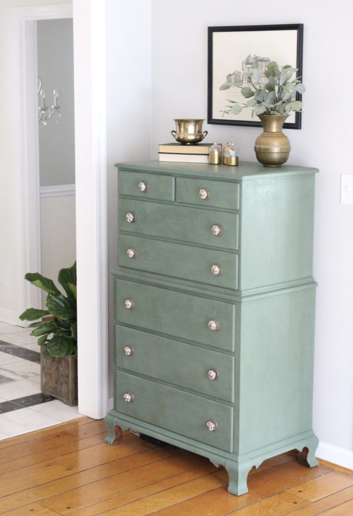 A wood dresser painted green- Amy Howard paints- One step paint- green- Cherbourg- how to use chalk paint- chalk painted finish- green furniture- how to paint furniture- home design- DIY- Do it Yourself project- painted furniture- gold accessories