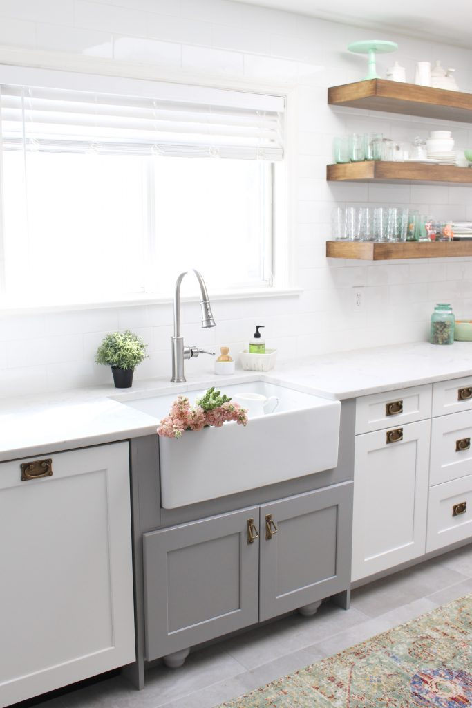 farmhouse sink- Elkay Fireclay Sink- cottage kitchen renovation- extra deep sink- white- kitchen renovation- single bowl sink- undermount farmhouse sink- kitchen- gray cabinets- white cottage kitchen- makeover- home design- room inspiration- Explore faucet- one hole faucet- pull-down sprayer
