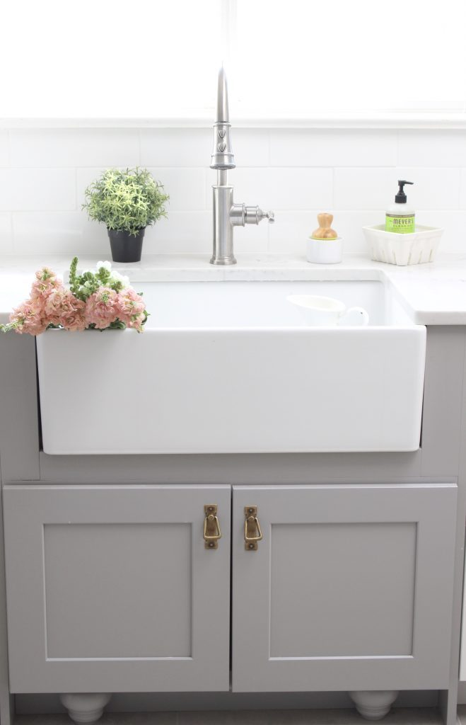 farmhouse sink- Elkay Fireclay Sink- cottage kitchen renovation- extra deep sink- white- kitchen renovation- single bowl sink- undermount farmhouse sink- kitchen- gray cabinets- white cottage kitchen- makeover- home design- room inspiration