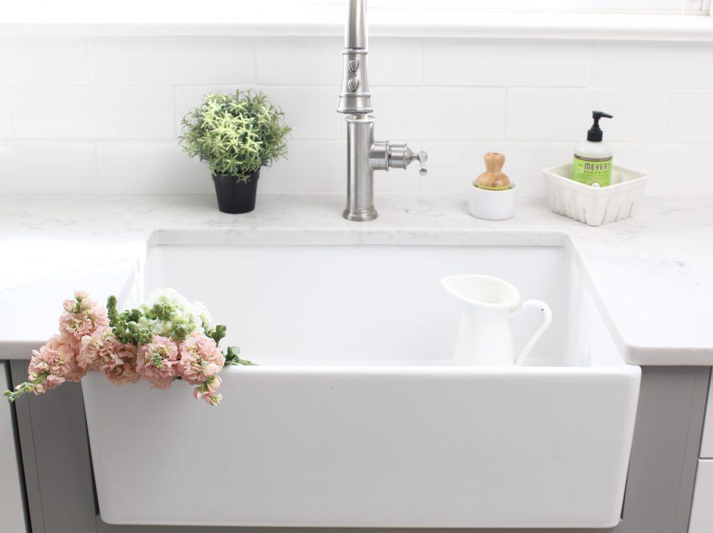 farmhouse sink- Elkay Fireclay Sink- cottage kitchen renovation- extra deep sink- white- kitchen renovation- single bowl sink- undermount farmhouse sink- kitchen- gray cabinets- white cottage kitchen- makeover- home design- room inspiration