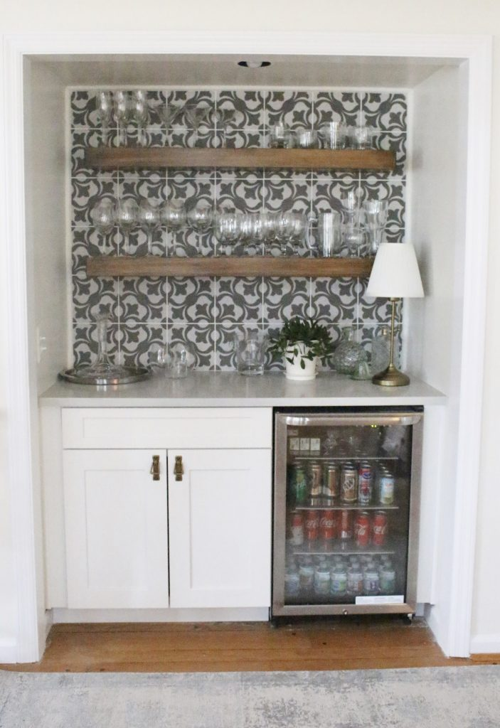 Beverage Center  Bar Nook  DIY  Bar Area  Kitchen  Pattern Tile On