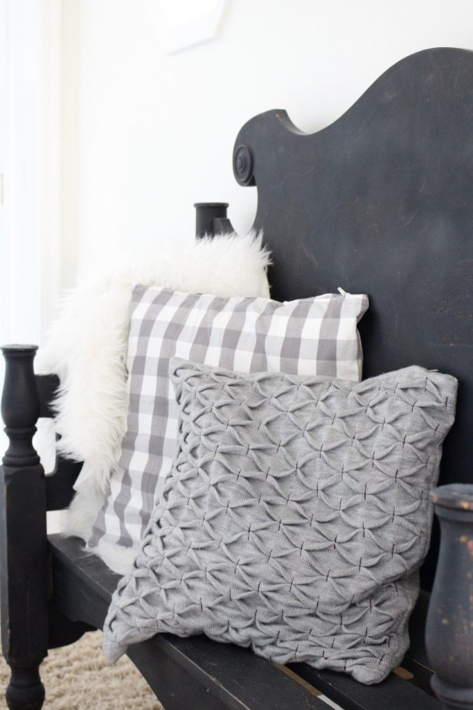 travel gallery- wall gallery- travel photos- how to display- hallway decorating- long hallway- decor- wall decor- black and white photographs- master suite- french country bench- bench made from a headboard and footboard